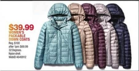 Macy's Black Friday: 32 Degrees Packable Women's Down Coats for $39.99