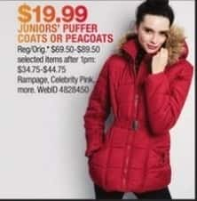 Macy's Black Friday: Rampage, Celebrity Pink & More Juniors' Puffer Coats Or Peacoats for $19.99