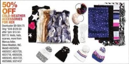 Macy's Black Friday: Marcus Adler and Steve Madden, INC. Women's Cold-Weather Accessories - 50% OFF