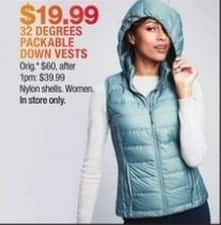 Macy's Black Friday: 32 Degrees Packable Down Vests for $19.99