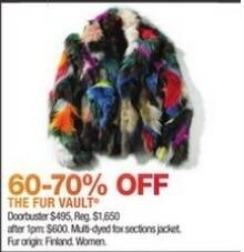 Macy's Black Friday: The Fur Vault - 60-70% OFF