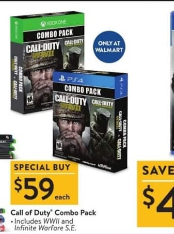 Walmart Black Friday: Call Of Duty Combo Pack, Includes WWII & Infinite Warfare S.E. for $59.99