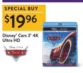 Walmart Black Friday: Disney Cars 3 4K Ultra HD Blu-Ray for $19.96