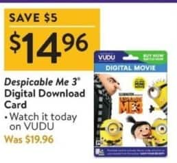 Walmart Black Friday: Despicable Me 3 Digital Download Card for $14.96