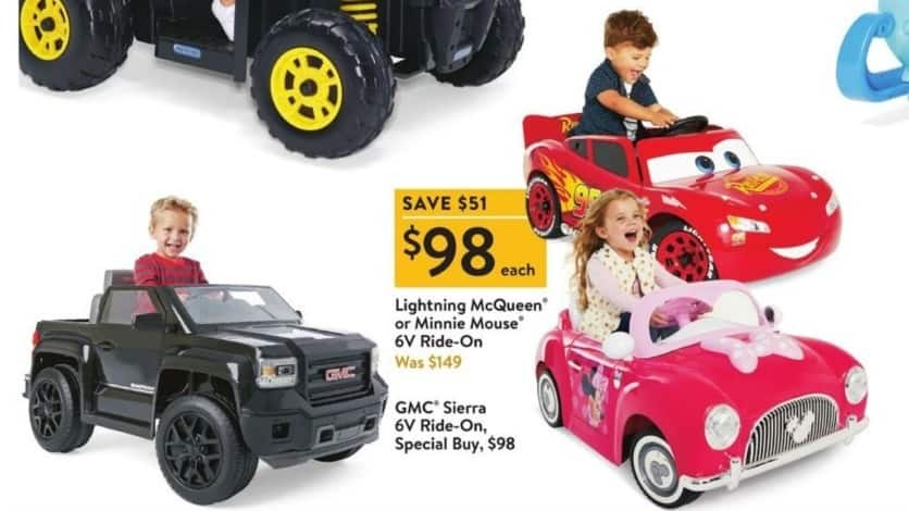 Walmart Black Friday: Lightening McQueen Or Minnie Mouse 6V Ride-On for $98.00