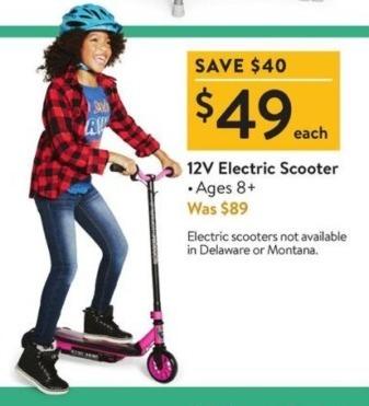 Walmart Black Friday: 12V Electric Scooter for $49.00