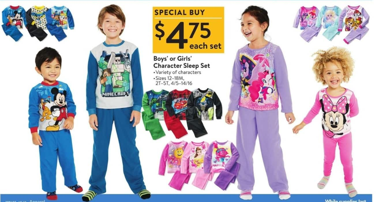 Walmart Black Friday: Character Boys' Or Girls' Sleep Set for $4.75