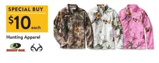 Walmart Black Friday: Mossy Oak Hunting Apparel for $10.00