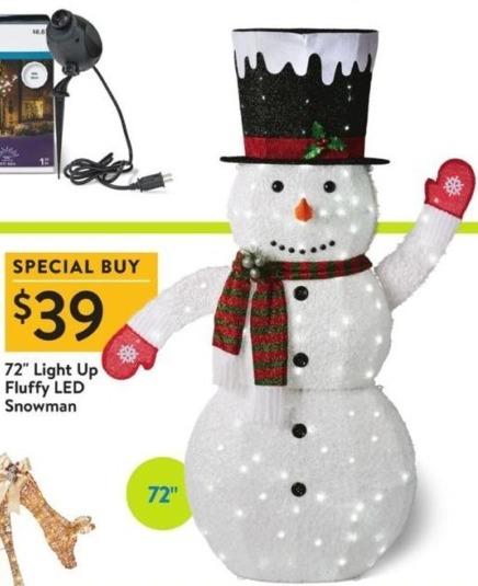 Walmart Black Friday: Light Up 72'' Fluffy LED Snowman for $39.00