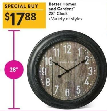 Walmart Black Friday: Better Homes And Gardens 28'' Clock for $17.88
