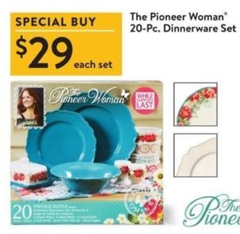 Walmart Black Friday: The Pioneer Woman 20-Pc. Dinnerware Set for $29.00