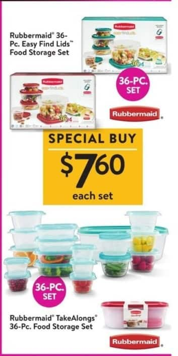 Walmart Black Friday: Rubbermaid TakeAlongs 36-Pc. Food Storage Set for $7.60