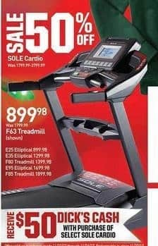 Dicks Sporting Goods Black Friday: Sole F63 Treadmill + $50 Dick's Cash for $899.98