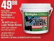 Dicks Sporting Goods Black Friday: Remington 9mm (350-rd.) Luger Range Bucket for $49.88 after $30.00 rebate