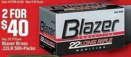 Dicks Sporting Goods Black Friday: (2) Blazer Brass .22LR 500-pk. for $40.00