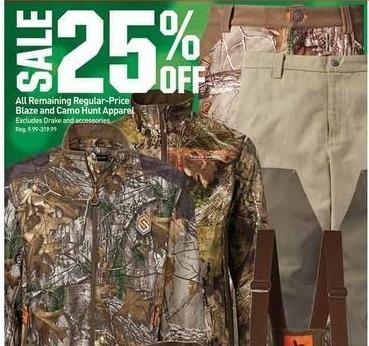 Dicks Sporting Goods Black Friday: All Remaining Regular-Price Blaze & Camo Hunt Apparel - 25% OFF