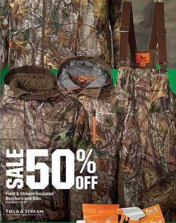 Dicks Sporting Goods Black Friday: Field & Stream Insulated Bombers & Bibs - 50% OFF