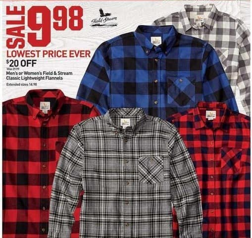Dicks Sporting Goods Black Friday: Field & Stream Mens Classic Lightweight Flannels for $9.98