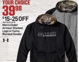 Dicks Sporting Goods Black Friday: Under Armour Mens Stacked Logo Blocked Hoodie for $39.98