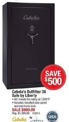 Cabelas Black Friday: Liberty Outfitter 30 Safe for $999.99