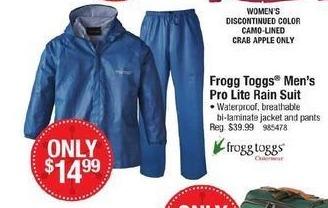 Cabelas Black Friday: Frogg Toggs Men's Pro Lite Rain Suit for $14.99