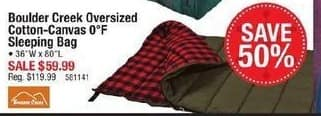 Cabelas Black Friday: Boulder Creek Oversized Cotton-Canvas Sleeping Bag for $59.99