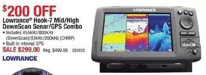 Cabelas Black Friday: Lowrance Hook-7 Mid/High DownScan Sonar/GPS Combo for $299.00