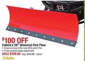 Cabelas Black Friday: Cabela's 50'' Universal Red Plow for $199.99
