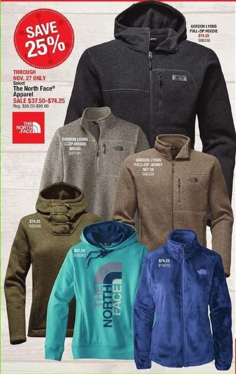 Cabelas Black Friday: The North Face Apparel for $37.50 - $74.50