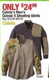 Cabelas Black Friday: Cabela's Mens Classic II Right-Hand Regular Shooting Shirt for $24.99
