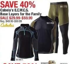 Cabelas Black Friday: Cabela's Women's E.C.W.C.S. Base Layers for $29.99 - $59.99