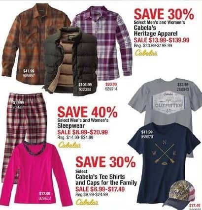 Cabelas Black Friday: Cabela's Men's and Women's Heritage Apparel, Select Styles for $13.99 - $139.99