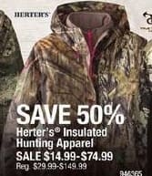 Cabelas Black Friday: Herter's Insulated Hunting Apparel for $14.99 - $74.99