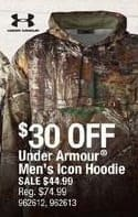 Cabelas Black Friday: Under Armour Men's Icon Hoodie for $44.99