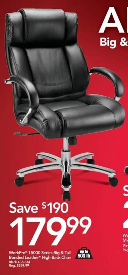 Office Depot and OfficeMax Black Friday: WorkPro 15000 Series Big & Tall Bonded Leather High-Back Chair for $179.99