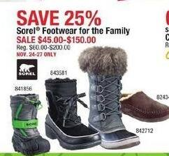 Cabelas Black Friday: Sorel Footwear For The Family for $45.00 - $150.00