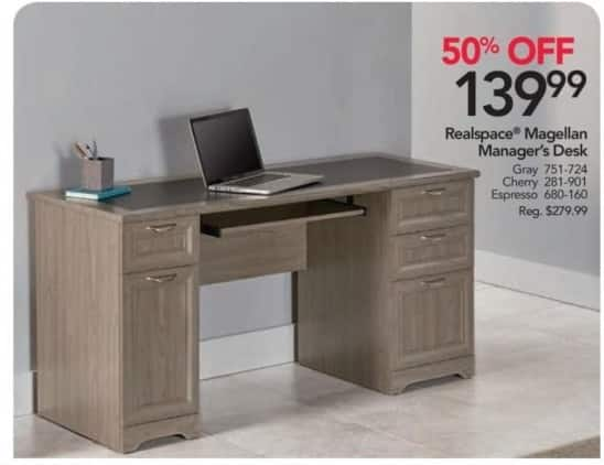 Office Depot and OfficeMax Black Friday: Realspace Magellan Managers Desk for $139.99