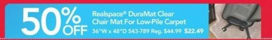 Office Depot and OfficeMax Black Friday: Realspace DuraMat Clear Chair Mat - 50% OFF