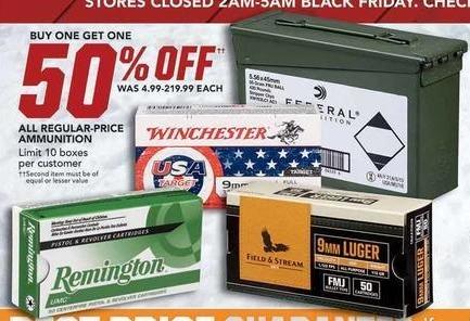 Field & Stream Black Friday: Remington, Winchester & More Regular-Price Ammunition - B1G1 50% OFF