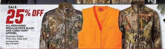 Field & Stream Black Friday: All Remaining Regular-Price Blaze & Camo Hunt Apparel - 25% OFF