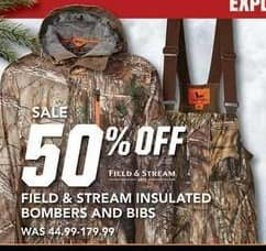 Field & Stream Black Friday: Field & Stream Insulated Bombers & Bibs - 50% OFF