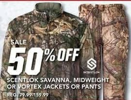 Field & Stream Black Friday: Scentlok Savanna, Midweight Or Vortex Pants - 50% OFF