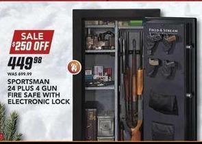 Field & Stream Black Friday: Sportsman 24 Plus 4 Gun Fire Safe w/ Electronic Lock for $449.98