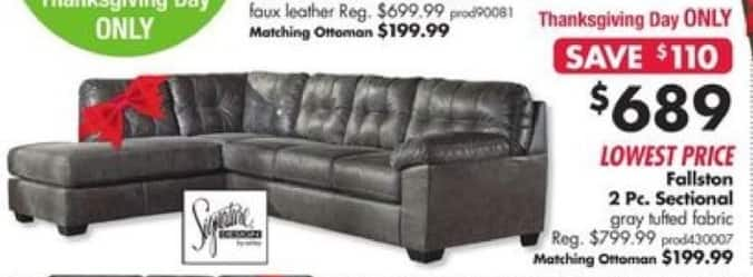 Big Lots Black Friday: Fallston 2 Pc. Sectional for $689.00