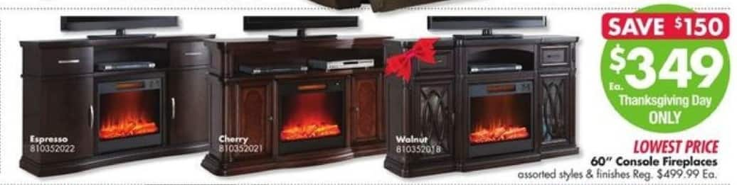 Big Lots Black Friday: 60'' Console Fireplaces for $349.00