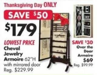 Big Lots Black Friday: Cheval Jewelry Armoire 62'H w/ Mirrored Door for $179.00