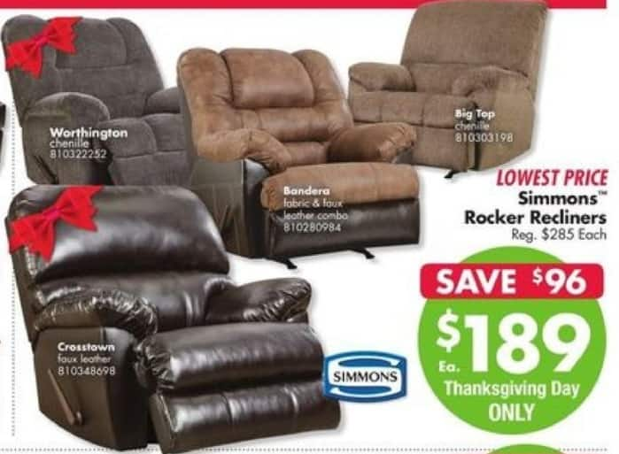 Big Lots Black Friday: Simmons Rocker Recliners for $189.00