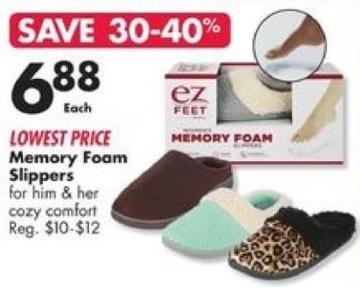 Big Lots Black Friday: Memory Foam Men's Slippers for $6.88