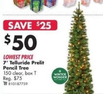 Big Lots Black Friday: Winter Wonder Telluride 7' Prelit Pencil Tree for $50.00
