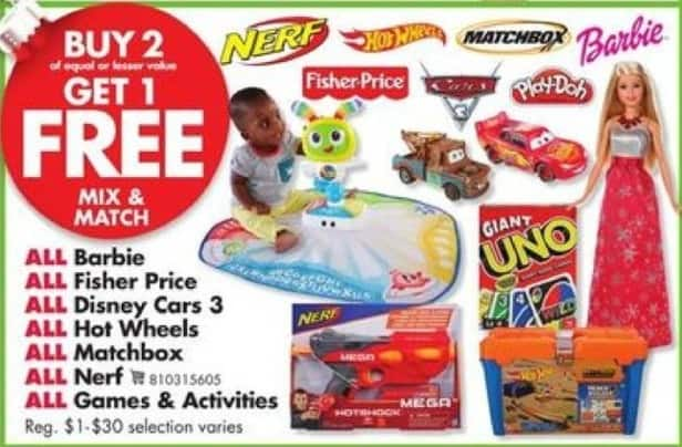 Big Lots Black Friday: All Barbie, Fisher Price, Disney Car 3 & Hot Wheels B2G1 Free - B2G1
